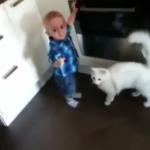 危険が危ない! 火傷から赤ちゃんを守る面倒見のいい猫ちゃん
