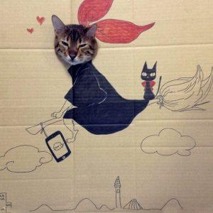 【アートなセンスが必要?!】猫の段ボールアートに思わずふき出しちゃう♪