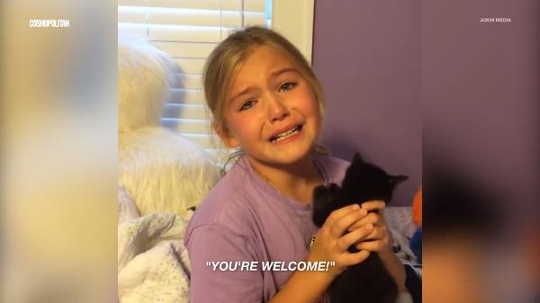 嬉しすぎて♡子猫をプレゼントされた女の子の反応が凄すぎる(笑)