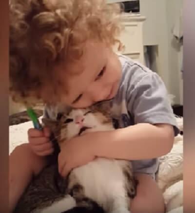 にゃんこは赤ちゃんが大好き♡とっても仲良しさんなふたりを集めました♪