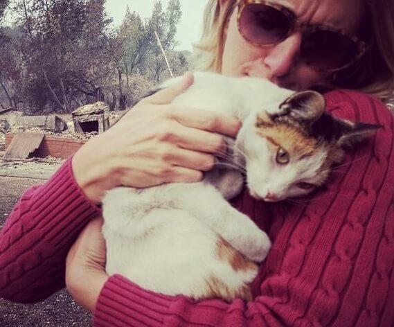 猛烈な山火事で自宅が全焼し愛猫も行方不明になった女性。失意の中で瓦礫の中で愛猫と感動の再会を遂げる!