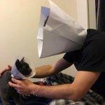 エリザベスカラーを嫌がる愛猫。安心させようと飼い主さんも自分サイズのカラーを作って装着した!「大丈夫だよ、ほら!」